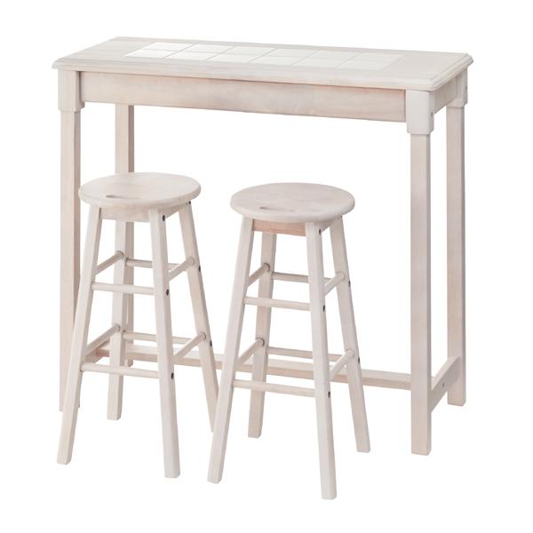 カウンターテーブル スツール 2脚セット タイルトップ フレンチカントリー Natura  ( 送料無料 カウンター キッチンカウンター コンパクト フレンチ かわいい ホワイト 白 スツール付き 省スペース テーブル 椅子 イス 木製 )