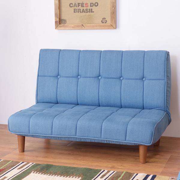 ソファ フロアソファ ラブソファ デニム調 ( 送料無料 ソファー フロアソファー 二人掛け ローソファー ローソファ 2Pソファ 二人掛け 椅子 いす 2way 二段階 )