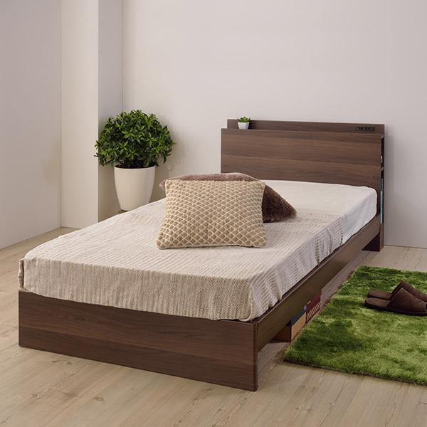 ベッド シングルベッド 収納付きヘッドボード ( 送料無料 ベッドフレーム シングル 収納 木製 ベッド本体 ヘッドボード コンセント 寝具 寝室 子供部屋 シングルサイズ 一人暮らし スタイリッシュ 通気性 )