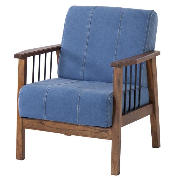 ソファ 1人掛け デニム地 天然木 Timber 幅71cm ( 送料無料 ソファー 木製 レトロ 椅子 いす チェアー チェア 一人用 1人用 肘あり 肘掛け 肘付き おしゃれ )