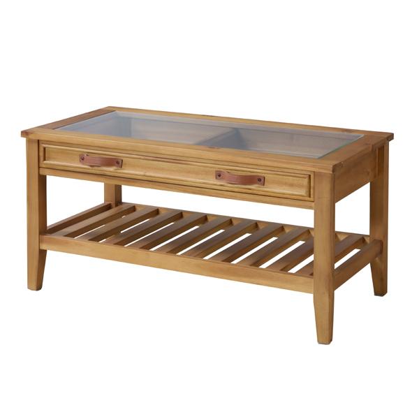 ローテーブル ガラス天板 コレクションテーブル 天然木 幅90cm ( 送料無料 完成品 センターテーブル リビングテーブル コーヒーテーブル ガラステーブル 木製 引き出し 引出し 収納 棚付き 棚 小物 小物収納 リビング収納 )
