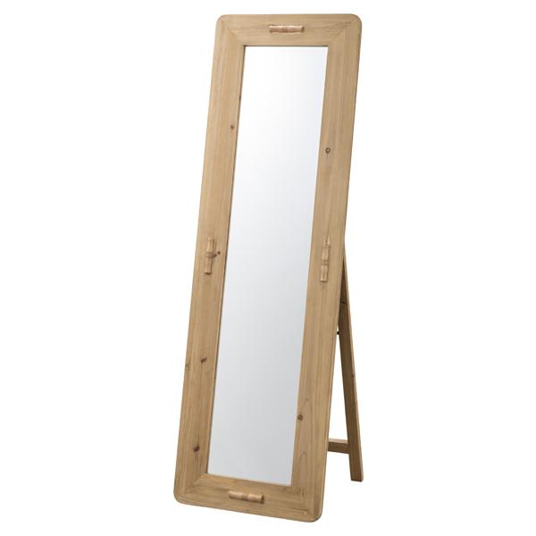 スタンドミラー 天然木 エスニック風 幅48cm ( 送料無料 ミラー 姿見 かがみ 鏡 全身 杉 木製 ウッド 家具 おしゃれ 150センチ 長方形 )