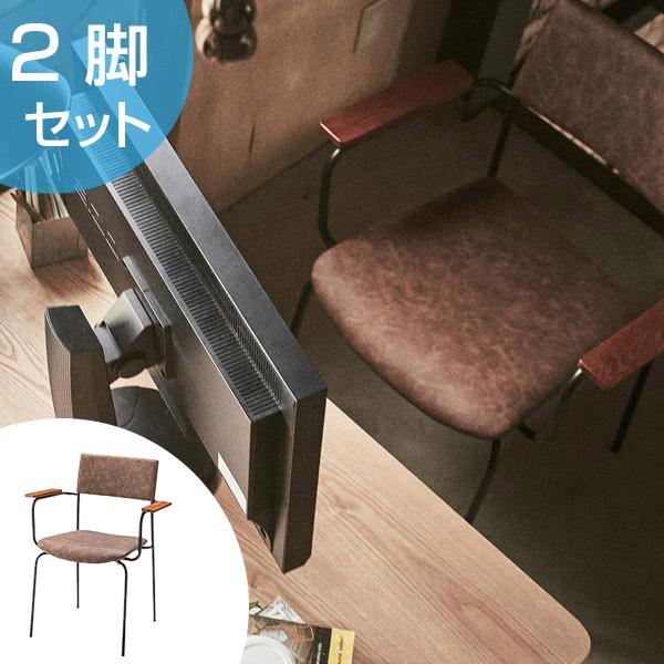 アームチェア 2脚セット アイアンフレーム 椅子 座面高47cm ( 送料無料 イス いす チェア チェアー 完成品 肘置き ダイニングチェアー 食卓椅子 リビングチェア )