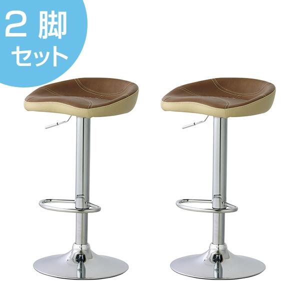 カウンタースツール 2脚セット 椅子 ソフトレザー 座面高62~82cm ( 送料無料 イス いす チェア チェアー 回転椅子 回転いす ハイチェア ハイチェアー カウンターチェア カウンターチェアー レザー 高さ調節 昇降式 )