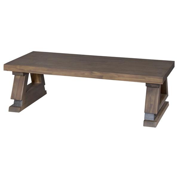 ローテーブル センターテーブル レトロ調 天然木 ライアン 幅120cm ( 送料無料 テーブル 机 リビングテーブル カフェテーブル 木製 長方形 ブラウン 茶色 リビング アウトドア )