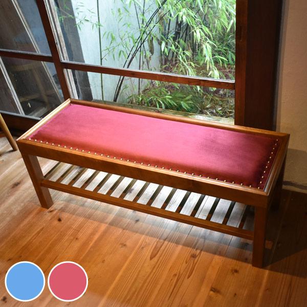 ベンチ 2人掛け 天然木フレーム レトロ調 JEM 幅102cm ( 送料無料 イス 椅子 チェア ダイニングベンチ チェアー いす ベロア ダイニングチェア リビングチェア 木製 食卓椅子 2人用 )