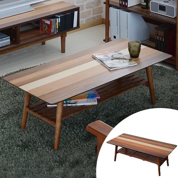 センターテーブル フォールディングテーブル ローテーブル 折りたたみ YOGEAR(ヨギア) 天然木製 幅100cm ( 送料無料 折りたたみテーブル ローテーブル リビングテーブル デスク ナチュラル 棚付き 完成品 )