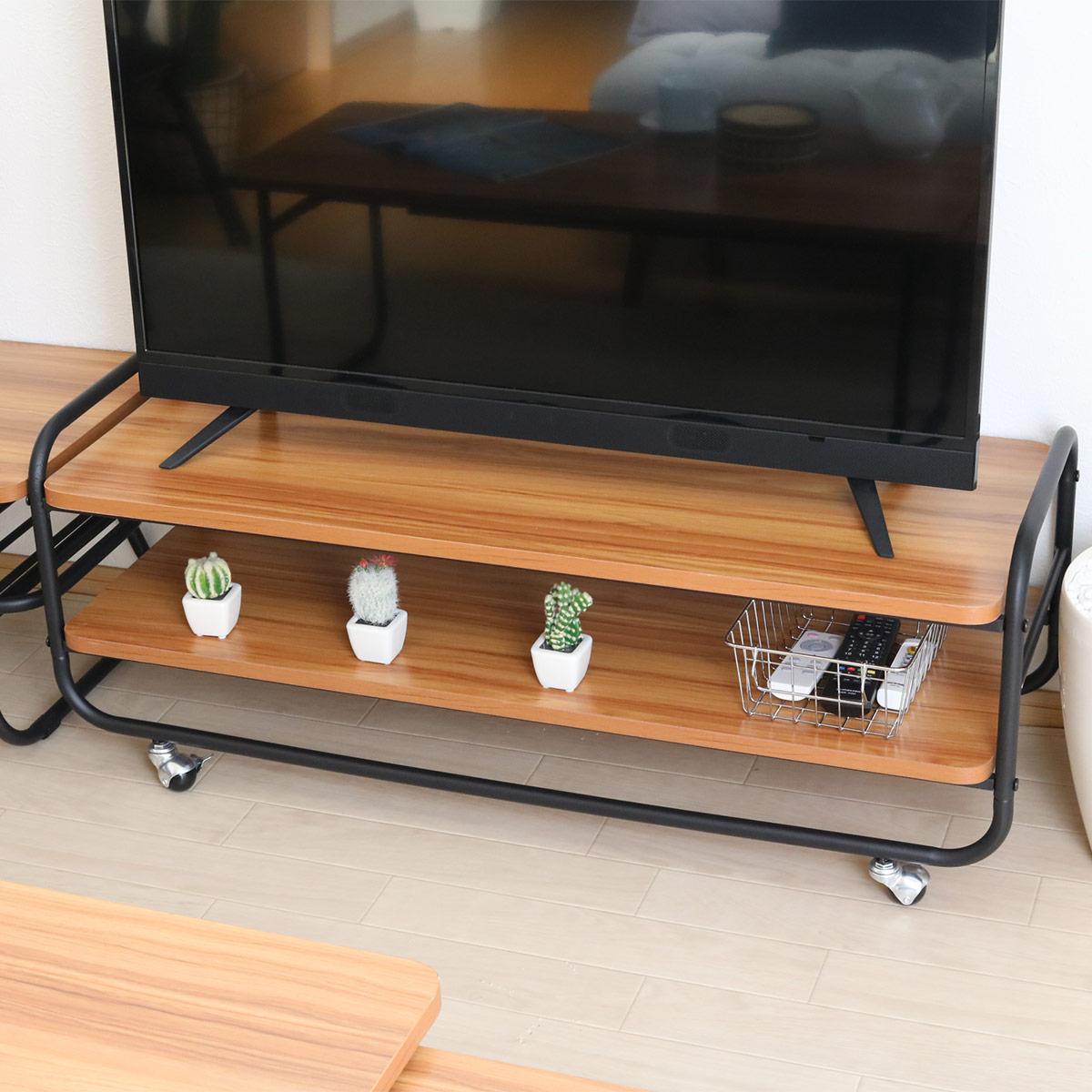 テレビボード TV台 MUSH(マッシュ) 幅105cm ( 送料無料 AVラック TVボード ローボード オープンラック キャスター付き テーブル 木目柄 レトロ )