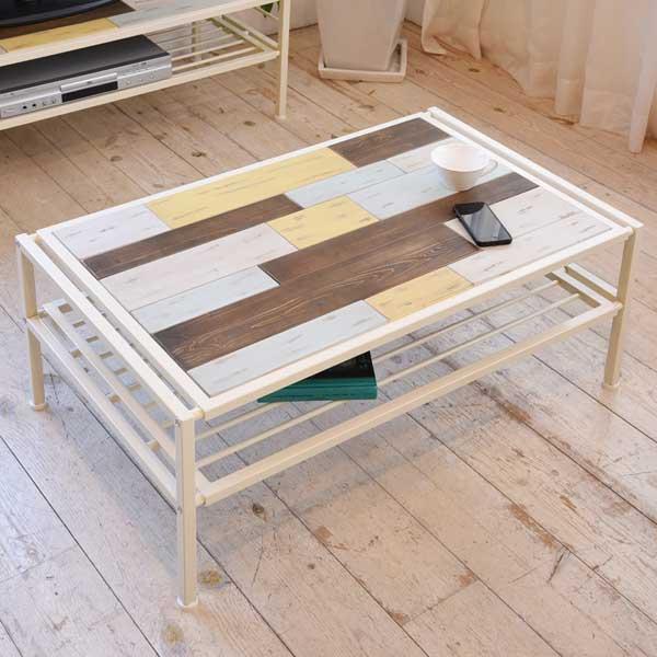 センターテーブル ローテーブル CHROME 天然木 スチールフレーム 幅90cm ( 送料無料 テーブル コーヒーテーブル 木製天板 アイアンフレーム 収納スペース付 収納ラック付 USED加工 ユーズド加工 アジャスター付 カラフル アースカラー )