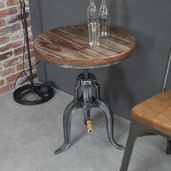 テーブル SMOKY 幅50cm 高さ調節 昇降式 バーテーブル ヴィンテージ調 ( 送料無料 木製 ハイテーブル カウンターテーブル 机 つくえ カフェテーブル 高さ 調整 調節 丸机 インダストリアル 天然木 アンティーク おしゃれ )