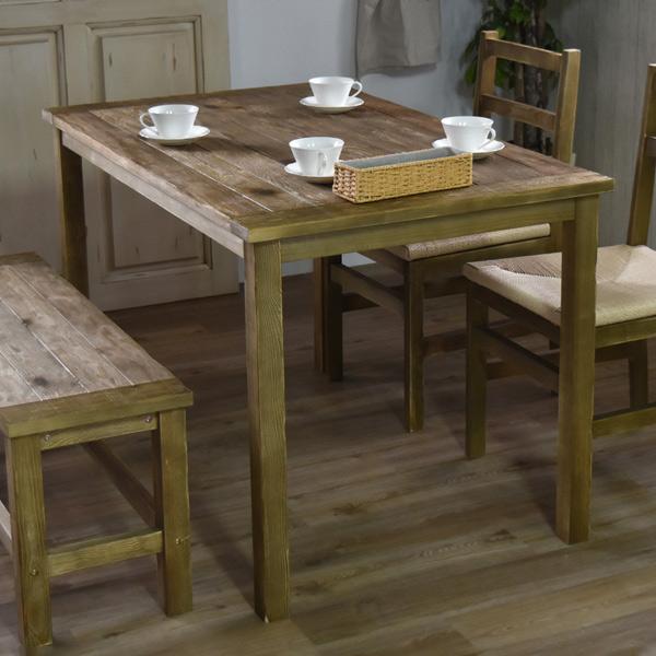 ダイニングテーブル LAGOL 幅122cm テーブル 天然木 木製 ( 送料無料 木製テーブル 食卓テーブル 机 4人掛け ヴィンテージ 食卓机 リビングテーブル アンティーク おしゃれ 古材 家具 リビング ダイニング 120 )
