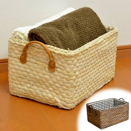 Soft basket Maize color box (inner storage case inner case basket basket made of checked pattern cloth with the storing box drawer handle) new product   08 & livingut   Rakuten Global Market: Soft basket Maize color box (inner ...