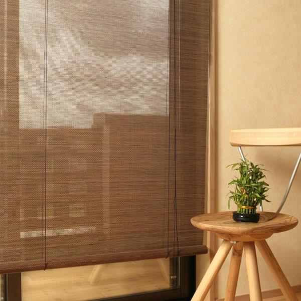 ロールスクリーン 燻製竹 88×180cm バンブースクリーン 丸ひごタイプ ロールアップスクリーン (  簾 シェード サンシェード バンブースクリーン スダレ 遮光 日除け 目隠し 屋内 和室 和風 アジアン モダン )