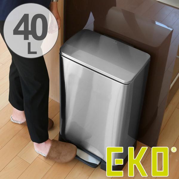 ゴミ箱 ふた付 EKO ネオキューブ ステップピン 40L ( 送料無料 ごみ箱 ダストボックス ペダル式 ステンレス シンプル スリム インナー付き 洗える おしゃれ )