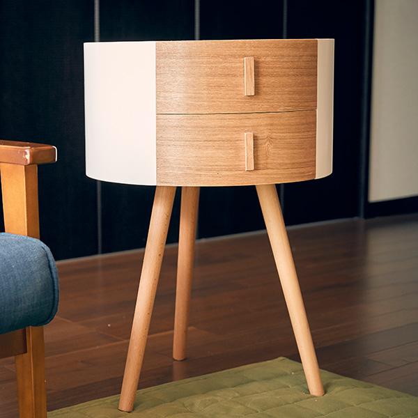 サイドテーブル 引き出し付き 丸型 木製 高さ65cm テーブル ( 送料無料 コーヒーテーブル ナイトテーブル 収納 ソファサイドテーブル ローテーブル リビングテーブル ミニテーブル 机 )