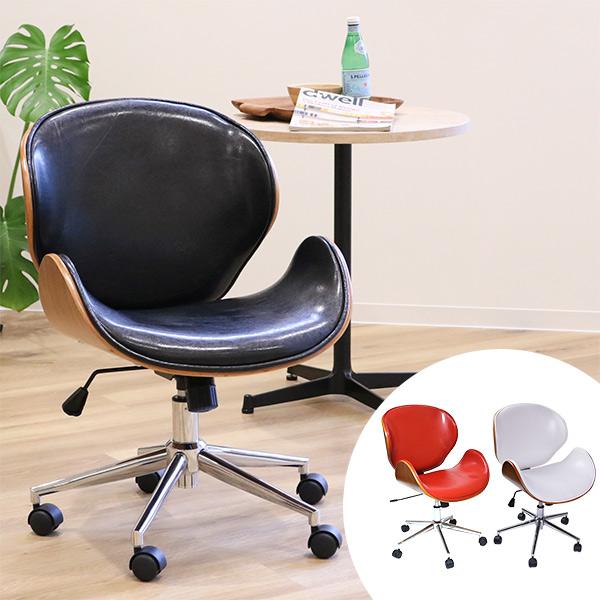 オフィスチェア ミッドセンチュリー風 ノースチェア レザー調 ( 送料無料 チェア チェアー イス いす 椅子 ラウンジチェア オフィスチェアー パソコンチェアー 合成皮革 レザー 木目 )