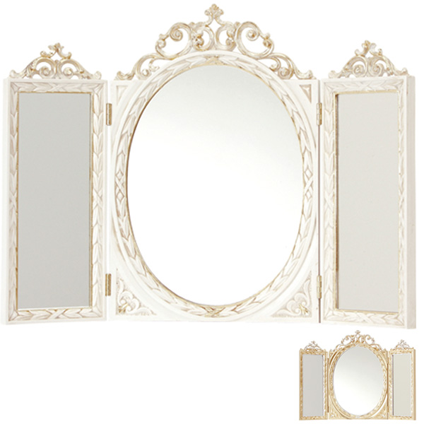 三面鏡 卓上型 イタリア製 テーブルミラー 幅61cm ( 送料無料 鏡 ミラー 姿見 3面鏡 卓上鏡 姫系 ロココ風 ゴージャス エレガント クラシック風 シルバーゴールド ホワイトゴールド )