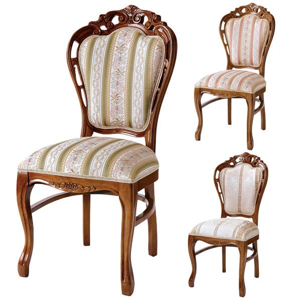 ダイニングチェア 椅子 クラシック調 姫系 Fiore アラベスク模様 ブラウンフレーム 座面高48cm ( 送料無料 猫脚 ロマンチック 輸入家具 ヨーロピアン 天然木 アンティーク調 アンティーク風 ヨーロッパ風 クラシックテイスト )