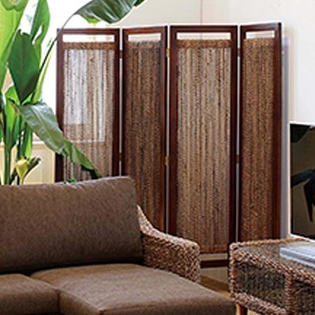 スクリーン 衝立 4連 グランツ アバカ素材 ( 送料無料 アジアン家具 マニラ麻 パーテーション パーティション ついたて 間仕切り )