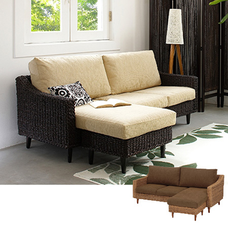 Sofa Chaise Long Single Grants Abaca Material Width 170 Cm (Asian Furniture  Manila Sofa Chair Chair Chair Sofa 2.5 Seat, 3 Seat)