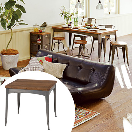 テーブル リベルタ スチールフレーム 80cm角 スクエア型 ( 送料無料 アイアン デスク 机 ダイニングテーブル 1人 2人用 鉄 個性的 レトロ )