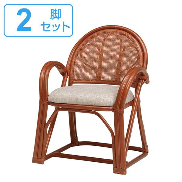 籐 楽々座椅子 2脚セット ミドルタイプ ラタンチェア 座面高41cm ( 送料無料 座椅子 ラタン 椅子 高座椅子 イス いす チェア チェアー アームチェア 肘付き 肘掛付き 高座いす 完成品 背もたれあり 背もたれ付き 軽い 軽量 1人掛け )