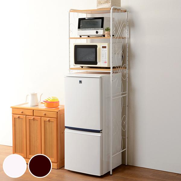 冷蔵庫ラック アイアンフレーム キッチン収納 幅58cm ( 送料無料 キッチンラック レンジ台 冷蔵庫 電子レンジ オープンラック 収納ラック 収納 ラック アイアン おしゃれ 可愛い かわいい エレガント 一人暮らし ひとり暮らし )