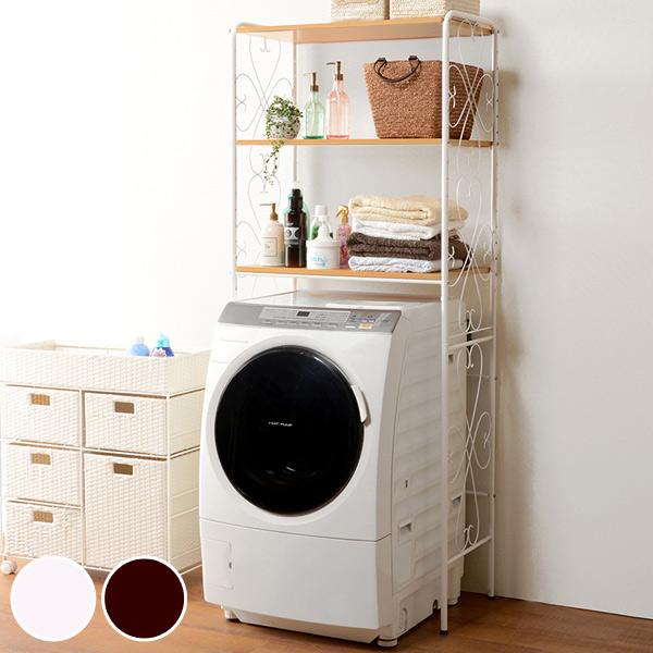 洗濯機ラック アイアンフレーム ランドリー収納 幅75cm ( 送料無料 ランドリーラック 洗濯機収納 ランドリー 洗濯機 収納 ラック アイアン おしゃれ 可愛い かわいい エレガント 一人暮らし ひとり暮らし )