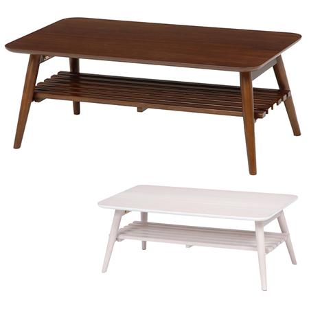 折れ脚テーブル 折りたたみ ローテーブル 長方形 棚付 幅90cm ( 送料無料 センターテーブル リビングテーブル 机 デスク )