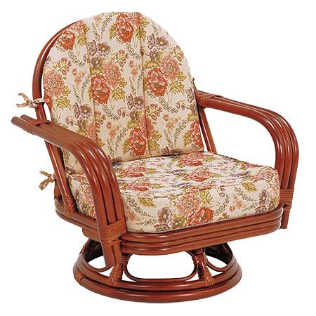 籐 回転座椅子 ラタン製 座面高26cm 花柄 ( 送料無料 座椅子 チェア )