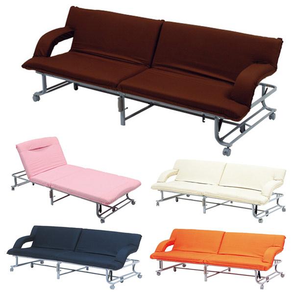 ソファベッド リクライニング式 グレイス シングル 幅88cm 長さ202cm ( 送料無料 折りたたみベッド パイプベッド ベッドフレーム マットレス付き ソファー 3人掛け 長椅子 )