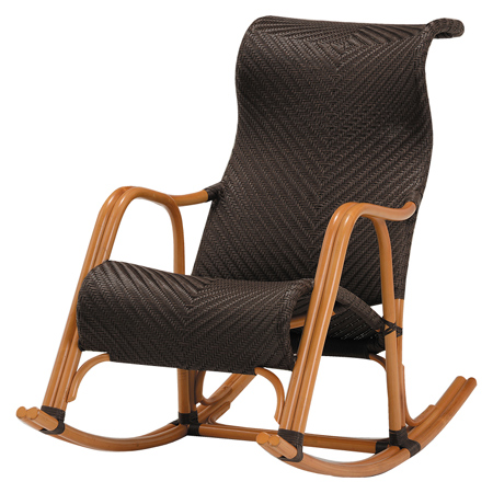 Dark Brown Wicker Rocking Chair Hybrid Rutten (Asian Furniture Chair Chair  Chair Chair Sofa One Seat Arm)
