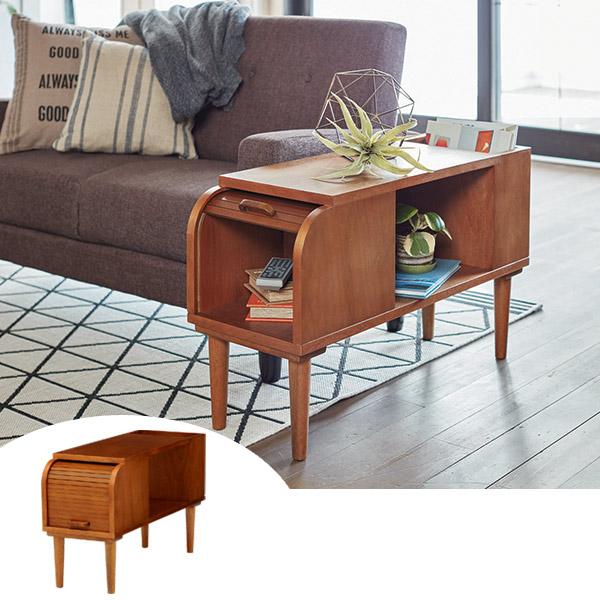 サイドテーブル 収納付 天然木 CALMA 幅28cm ( 送料無料 テーブル ソファサイドテーブル リビングテーブル 机 つくえ 木製 リビング収納 収納小物整理 28センチ )
