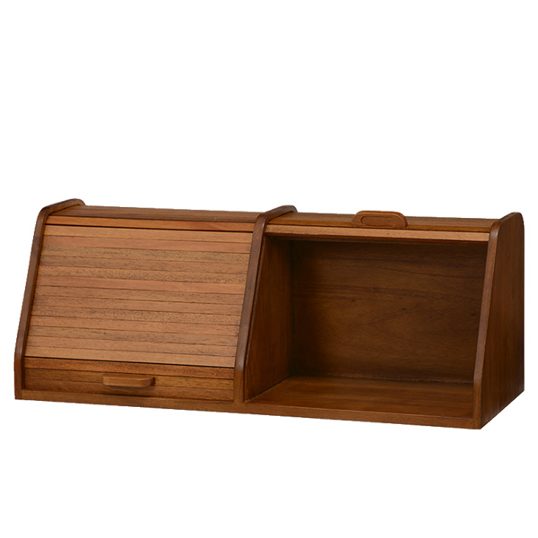 ブレッドケース 2連 卓上収納 天然木 CALMA 幅70cm ( 送料無料 パンケース ブレッドボックス 食パンケース パン 収納 木製 小物入れ ウッドボックス 卓上 木箱 調味料ケース 70センチ 完成品 )