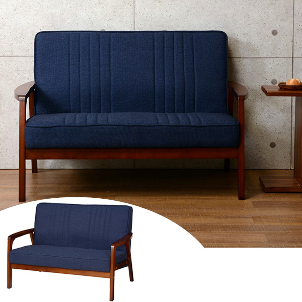 ソファ 2人掛け 天然木フレーム エスニック調 UMBER 幅116cm  ( 送料無料 ソファー 椅子 イス チェア 木製 フロアーソファ ソファチェア リビングチェア ファブリック 布張り 布製 二人掛け 肘付き アカシア )
