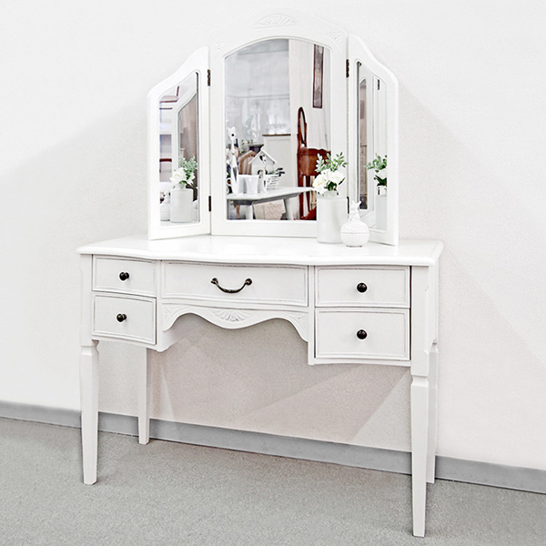 ドレッサー 三面鏡 アンティーク調 ロマンチック Duet 幅100cm ( 送料無料 鏡台 化粧台 鏡付き ミラー付き 白家具 シャビーシック 姫系 ヨーロピアン クラシック かわいい 大人かわいい ホワイト 収納付き 収納 引出 引出し )