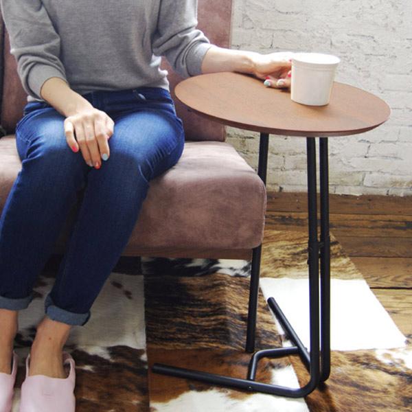 サイドテーブル anthem アンセム 高さ2段調整可能 ( 送料無料 円形 木製 ローテーブル デスク コーヒーテーブル アイアン ビンテージ 花台 電話台 小型 ブラウン )