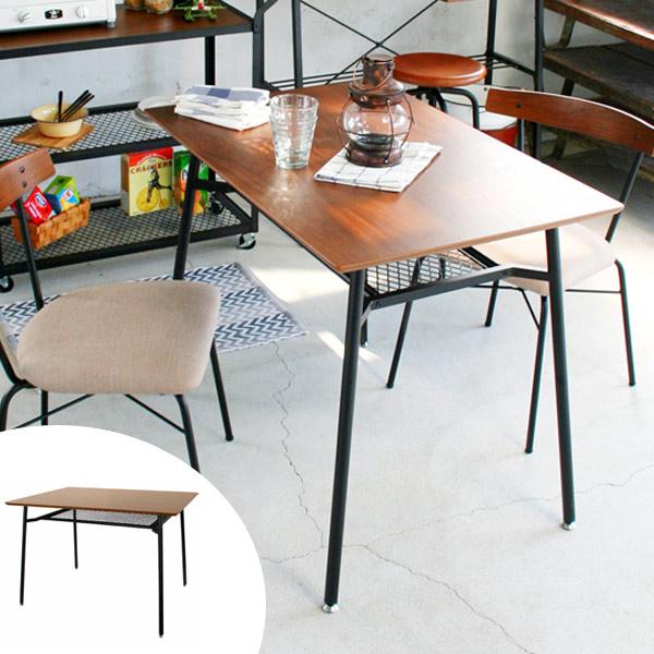 ダイニングテーブル 食卓 スチールフレーム anthem 幅90cm Sサイズ ( 送料無料 テーブル 机 収納ラック付き 食卓テーブル 2人用 ヴィンテージ風 ヴィンテージライク ビンテージスタイル 異素材 )