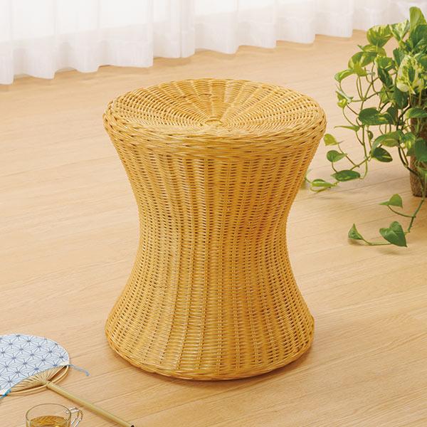 ラタンスツール 円形 籐家具 高さ41cm ( 送料無料 椅子 イス チェア アジアン )