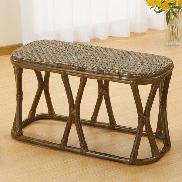 ラタンスツール ワイドタイプ 1人掛けベンチ 籐家具 幅76cm( 送料無料 椅子 イス チェア アジアン )
