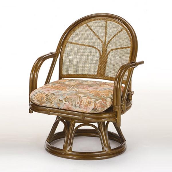 籐〔ラタン〕 回転座椅子 ミドルハイタイプ 送料無料( 回転式 背もたれ付き 肘付き 肘掛 イス チェア 座いす アジアン )