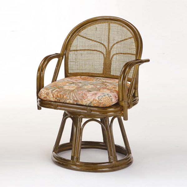 ラタンチェア 籐 回転座椅子 クッション付 座面高42cm ( 送料無料 回転式 背もたれ付き 肘付き 肘掛 イス チェア 座いす アジアン )
