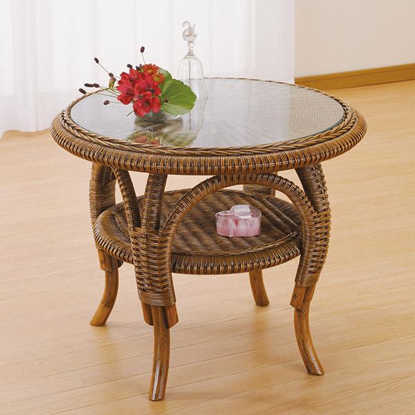 ラタンテーブル 円形 ガラス天板 ローテーブル 棚付 籐家具 直径60cm( 送料無料 サイドテーブル アジアン )