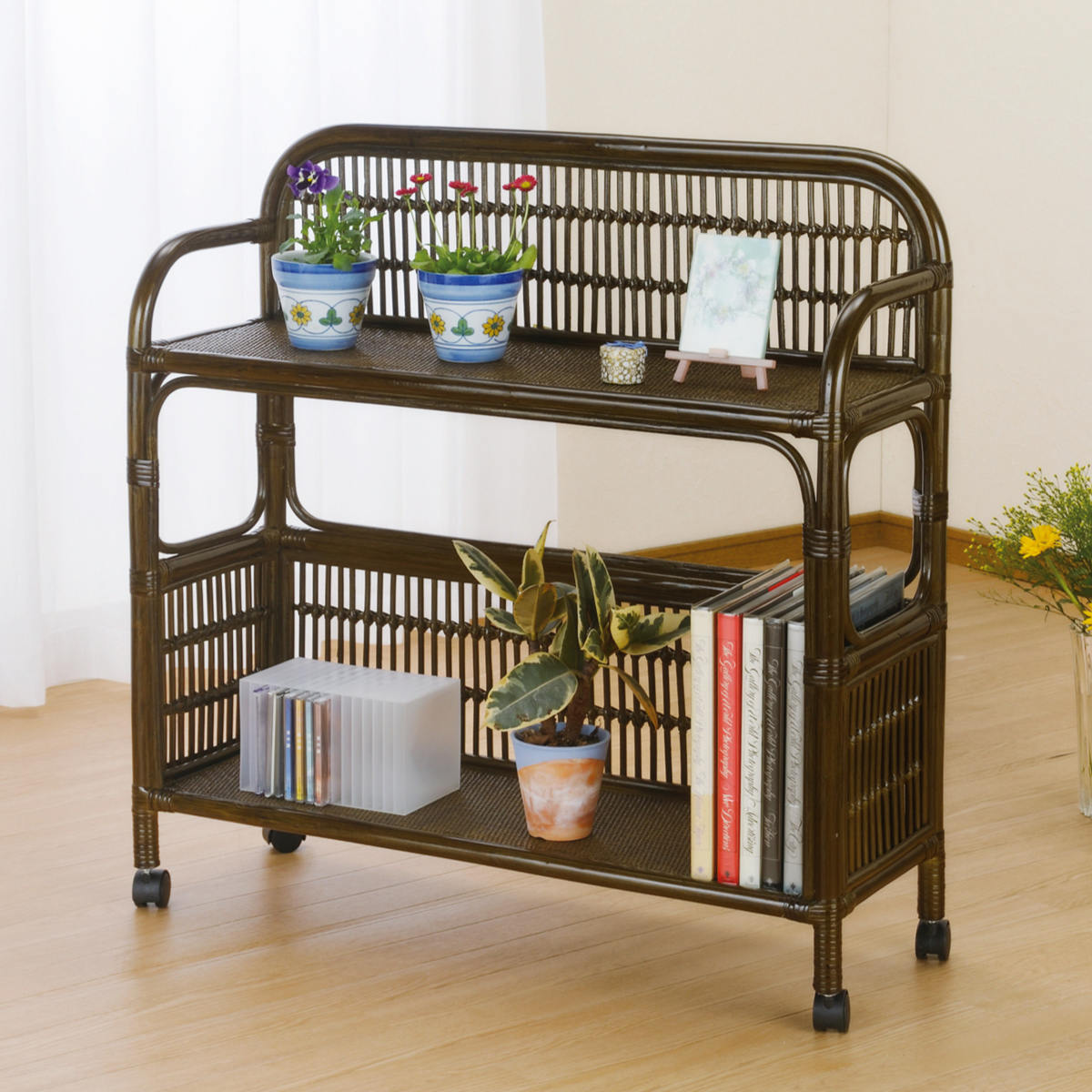 Wicker Latin Shelves Bookshelf Flower Rack With Casters Asian 05P06May15