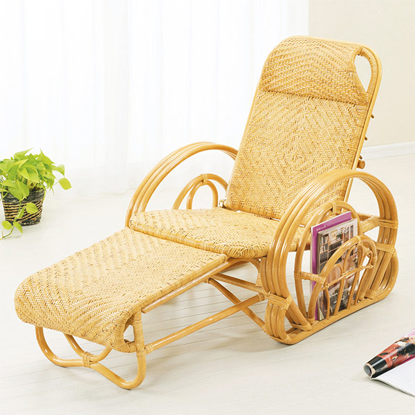 籐 三つ折寝椅子 ( ラタン リクライニングチェア 送料無料 )