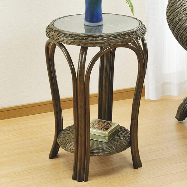 籐 テーブル ハイタイプ ( ラタン 机 サイドテーブル 花台 電話代 送料無料 )