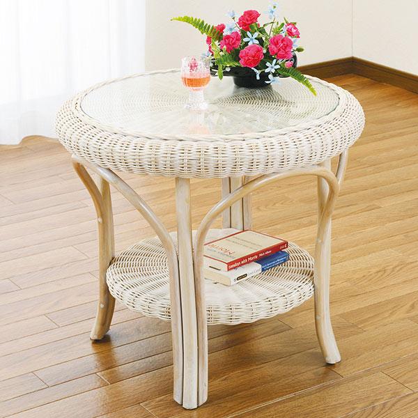 ラタンテーブル 円型 ガラス天板 棚付 籐家具 直径60cm ( ラタン 机 センターテーブル 送料無料 )