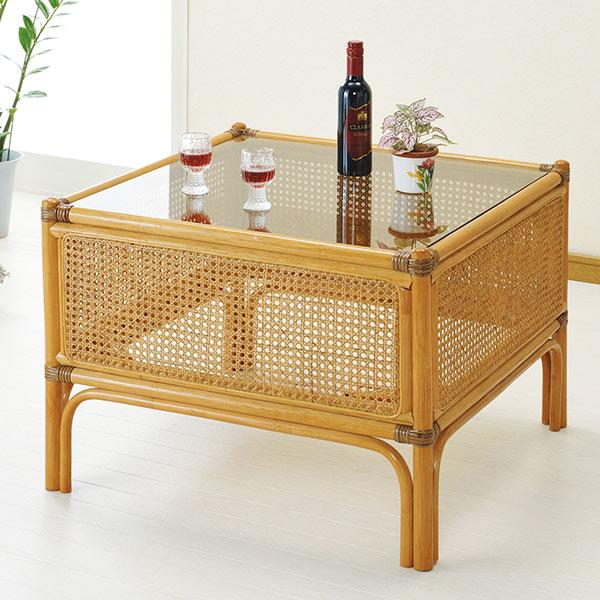 ラタンテーブル 正方形 ガラス天板 籐 センターテーブル 67cm角 ( ラタン 机 センターテーブル サイドテーブル 送料無料 )
