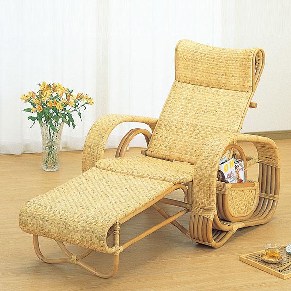 寝椅子 ラタン カウチソファ 三つ折り ラック付 籐家具( 送料無料 イス チェア アジアン )