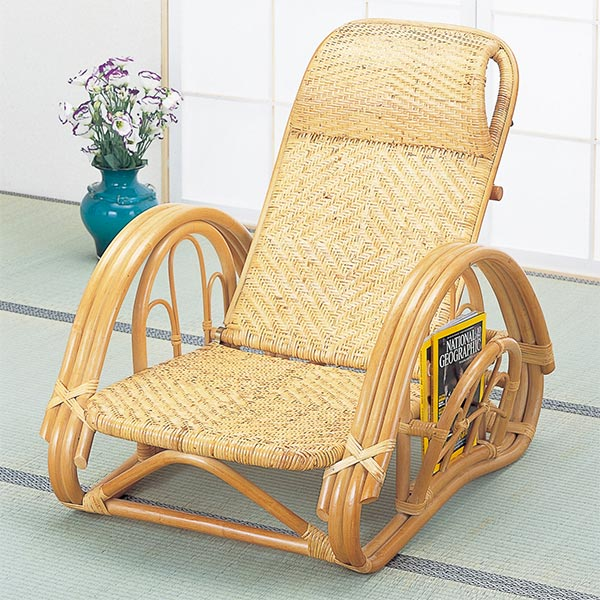 籐〔ラタン〕 リクライニング座椅子 ブラウンカラー 送料無料( イス チェア アジアン )